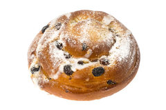 Breakfast. Fresh sweet bun with powdered sugar and raisins on wh Stock Photos