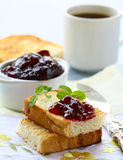 Breakfast with fresh toast and jam Royalty Free Stock Photography