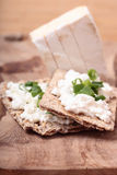 Breakfast with fresh vegetables. Breakfast with cottage and blue cheese on the cutting board Stock Images