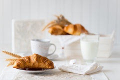 Breakfast with freshly baked croissants. Selective focus, copy space Stock Image