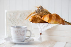 Breakfast with freshly baked croissants. Selective focus, copy space Stock Photo