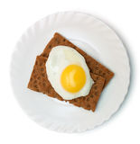 Breakfast: fried egg and crisp bread on plate Royalty Free Stock Photos