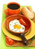 Breakfast of fried egg and the cup of coffee Stock Photos