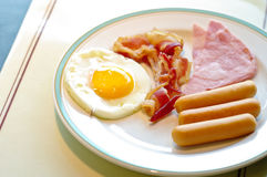 Breakfast, fried egg and sausage Royalty Free Stock Photo
