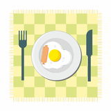Breakfast - fried egg and sausage Stock Photo