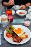Breakfast with fried eggs Royalty Free Stock Photos