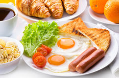 Breakfast with fried eggs Stock Images
