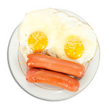 Breakfast with fried eggs and sausages Stock Photography