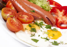 Breakfast with fried eggs and sausages. Appetizing breakfast with fried eggs fried eggs and fried sausages Stock Images