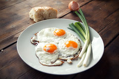 Breakfast. With fried eggs and spring onion Royalty Free Stock Image