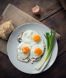 Breakfast with fried eggs and onion. Breakfast with fried eggs and spring onion Royalty Free Stock Photography