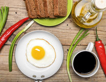 Breakfast with fried eggs Stock Photos