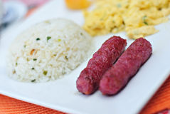 Breakfast Fried Garlic Sausage with Egg and Rice Royalty Free Stock Photo