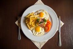 Breakfast with fried potato bacon Royalty Free Stock Photos