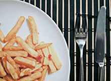 Breakfast with fried potatoes on a bamboo mat Stock Photo