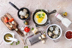Breakfast with fried quail eggs Royalty Free Stock Image