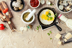 Breakfast with fried quail eggs Stock Photo