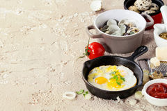 Breakfast with fried quail eggs Royalty Free Stock Photos