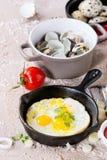 Breakfast with fried quail eggs Stock Photos