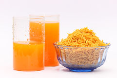 Breakfast, fried snacks and juice stock images