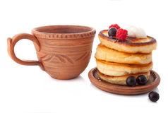 Breakfast with fritters Royalty Free Stock Image