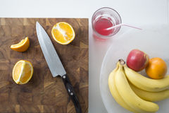 Breakfast Fruit Arrangement with Juice and Sliced Oranges Royalty Free Stock Photo