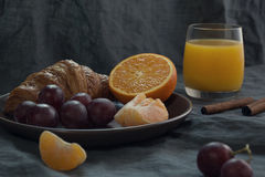 Breakfast. Fruit croissant juice Stock Images