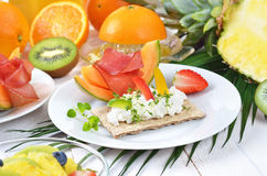 Breakfast with fruit Royalty Free Stock Photography
