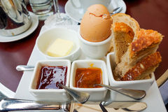 Breakfast with fruit jam nand egg Stock Image