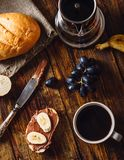 Breakfast with Fruit Sandwich and Coffee. Royalty Free Stock Photography