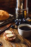 Breakfast with Fruit Sandwich and Coffee. Stock Image
