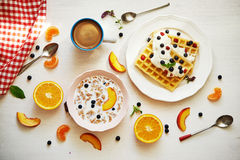 Breakfast with fruits Stock Images