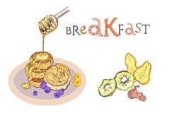 Breakfast with fruits and pancakes vector illustration