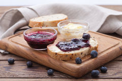 Breakfast with fruits top view horizontally. Stock Photos