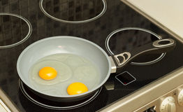 Breakfast. Frying eggs Royalty Free Stock Photography