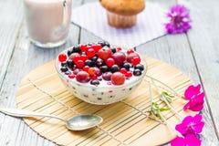 Breakfast garden fruits currants gooseberries buttermilk Stock Photography