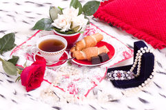 Breakfast with gifts and rose Stock Photo