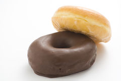Breakfast glass of chocolate milk and donut Royalty Free Stock Photo