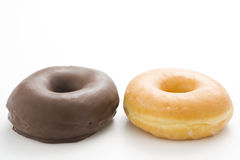 Breakfast glass of chocolate milk and donut Royalty Free Stock Images