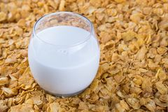 Breakfast in a glass of milk over muesli. Breakfast in a glass of milk over muesli royalty free stock image