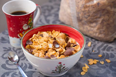 Breakfast golden and chocolate cornflakes cereal bowl Royalty Free Stock Image