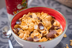 Breakfast golden and chocolate cornflakes cereal bowl Stock Image