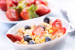 Breakfast with granola cereals Royalty Free Stock Photo
