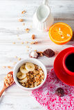 Breakfast granola, a cup of coffee Royalty Free Stock Images