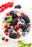 Breakfast with granola and fresh berries Stock Images