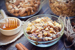 Breakfast with granola Stock Images
