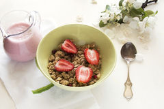 Breakfast with granola Stock Photos