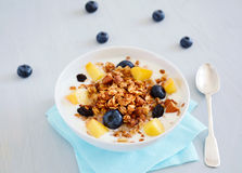 Breakfast granola with yoghurt and fresh fruits Royalty Free Stock Images