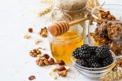 Breakfast - granola, yogurt, berries, nuts, honey, wheat. Breakfast - granola yogurt berries nuts honey wheat, white wood background Stock Image