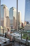 Breakfast With great view. At ground zero Manhattan New York royalty free stock images